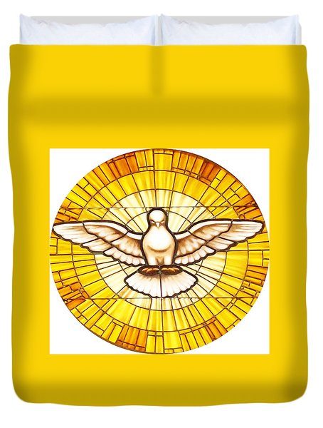 Duvet Cover featuring the photograph Stain Glass Dove by Joseph Frank Baraba