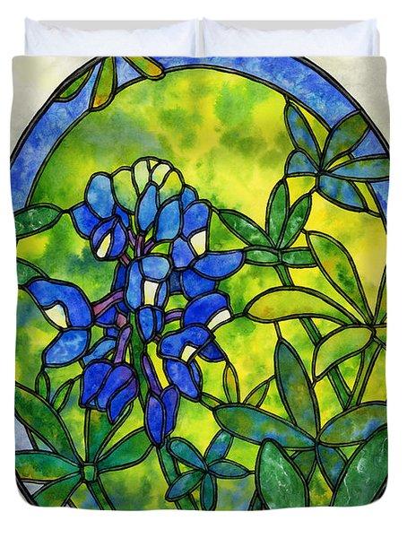 Stained Glass Bluebonnet Duvet Cover