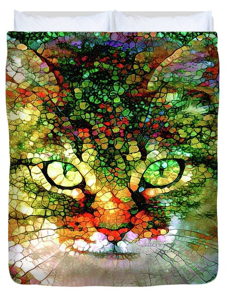 Stained Glass Cat Duvet Cover