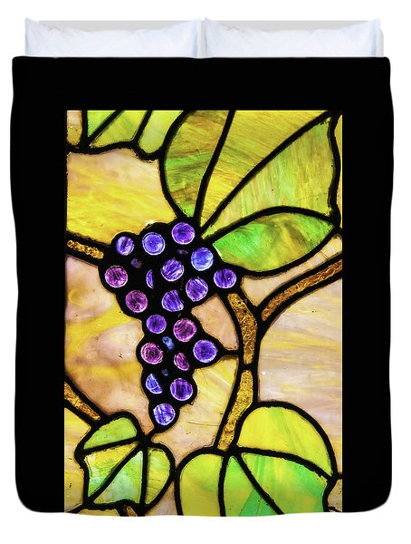 Stained Glass Grapes 01 Duvet Cover