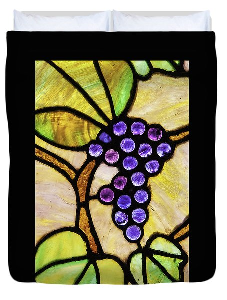 Stained Glass Grapes 02 Duvet Cover