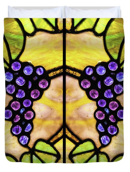 Stained Glass Grapes 03 Duvet Cover
