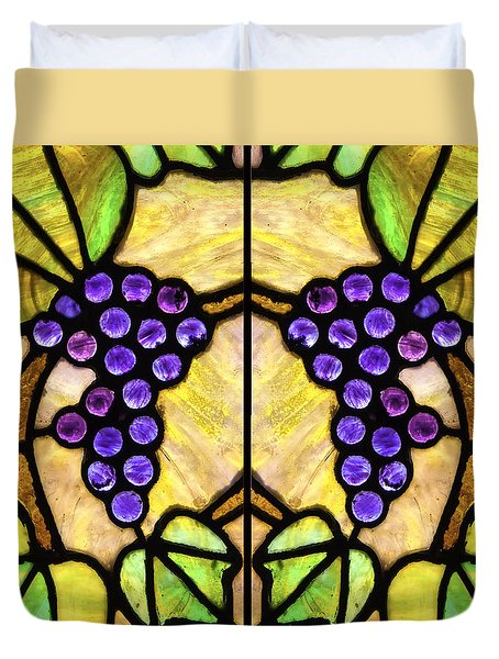 Stained Glass Grapes 07 Duvet Cover