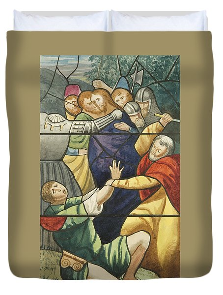 Stained Glass In St Mark's  The Taking Of Christ  Duvet Cover by Joseph Manning
