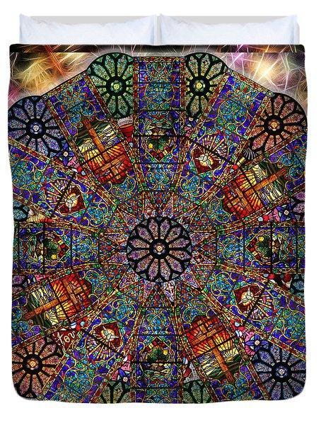 Stained Glass Mandala Duvet Cover