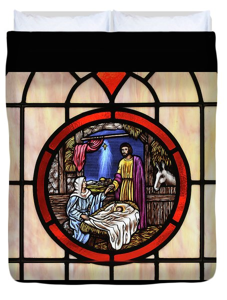 Stained Glass Nativity Window Duvet Cover