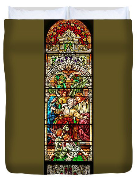 Duvet Cover featuring the photograph Stained Glass Scene 1 - 3 by Adam Jewell