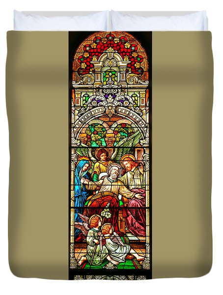 Duvet Cover featuring the photograph Stained Glass Scene 1 - 4 by Adam Jewell