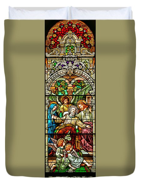 Duvet Cover featuring the photograph Stained Glass Scene 1 by Adam Jewell