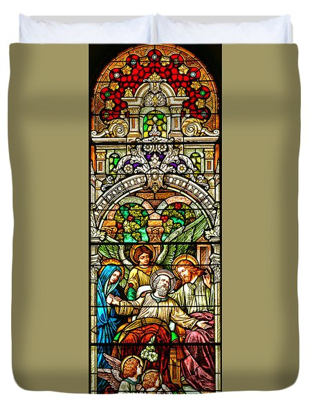Duvet Cover featuring the photograph Stained Glass Scene 1 Crop by Adam Jewell