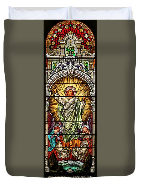 Duvet Cover featuring the photograph Stained Glass Scene 10 by Adam Jewell