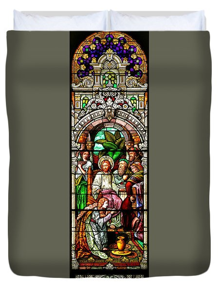 Duvet Cover featuring the photograph Stained Glass Scene 11 by Adam Jewell