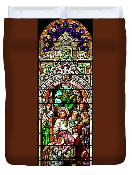 Duvet Cover featuring the photograph Stained Glass Scene 11 Crop by Adam Jewell