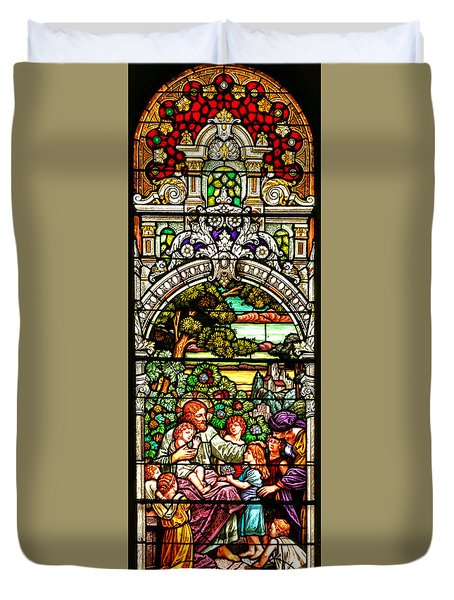 Duvet Cover featuring the photograph Stained Glass Scene 12 by Adam Jewell