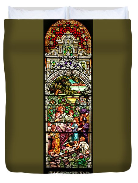 Duvet Cover featuring the photograph Stained Glass Scene 12 Crop by Adam Jewell