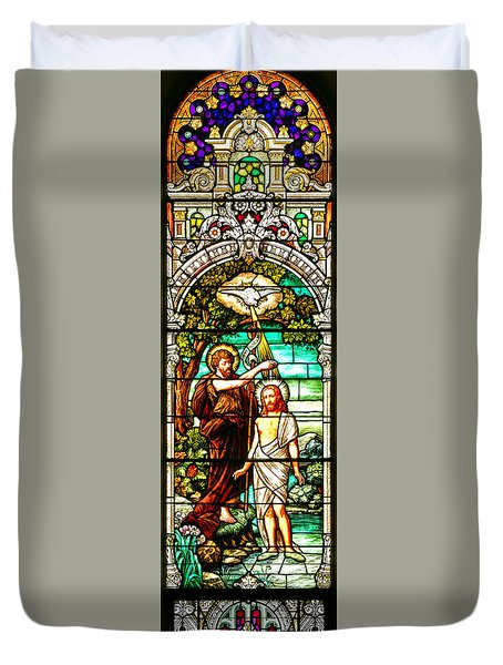 Duvet Cover featuring the photograph Stained Glass Scene 2 by Adam Jewell