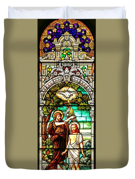 Duvet Cover featuring the photograph Stained Glass Scene 2 Crop 2 by Adam Jewell