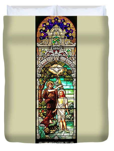 Duvet Cover featuring the photograph Stained Glass Scene 2 Crop by Adam Jewell