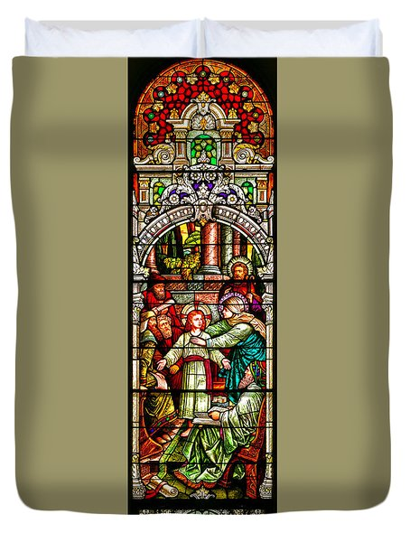 Duvet Cover featuring the photograph Stained Glass Scene 3 by Adam Jewell