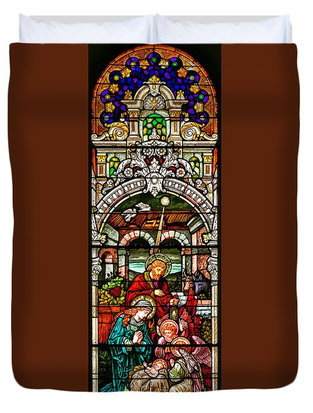 Duvet Cover featuring the photograph Stained Glass Scene 4 - 2 by Adam Jewell