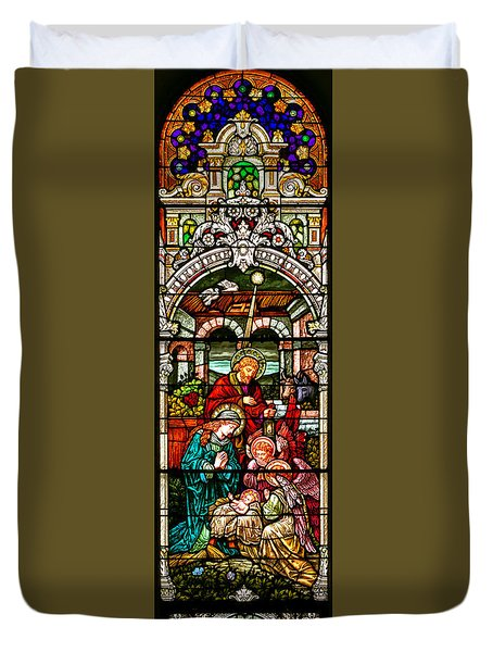 Duvet Cover featuring the photograph Stained Glass Scene 4 by Adam Jewell