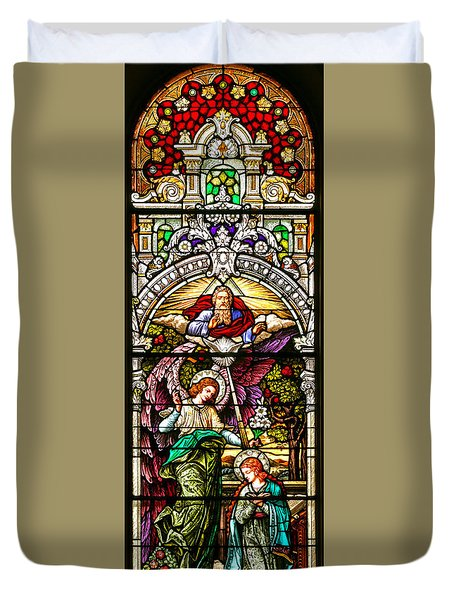 Duvet Cover featuring the photograph Stained Glass Scene 5 by Adam Jewell
