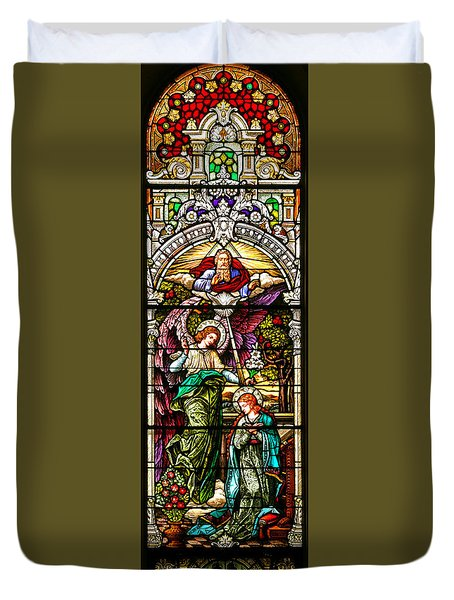Duvet Cover featuring the photograph Stained Glass Scene 5 Crop by Adam Jewell