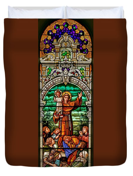 Duvet Cover featuring the photograph Stained Glass Scene 6 Crop by Adam Jewell