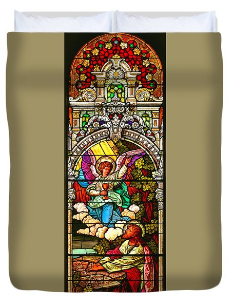 Duvet Cover featuring the photograph Stained Glass Scene 7 Crop by Adam Jewell