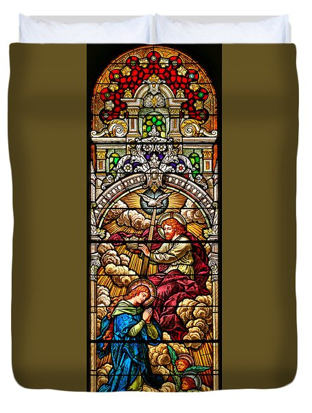 Duvet Cover featuring the photograph Stained Glass Scene 7 Crops by Adam Jewell