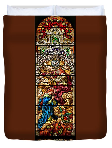 Duvet Cover featuring the photograph Stained Glass Scene 8 by Adam Jewell