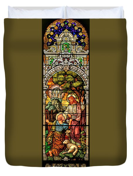 Duvet Cover featuring the photograph Stained Glass Scene 9 by Adam Jewell