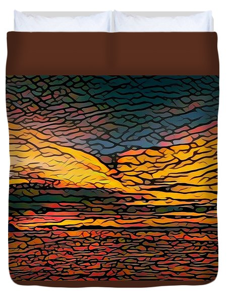 Stained Glass Sunset Duvet Cover