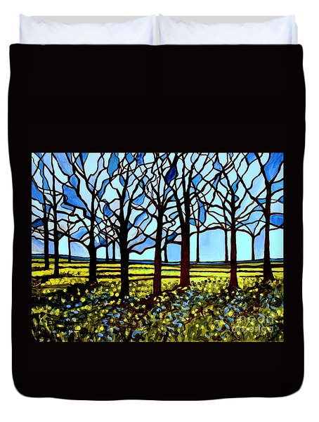 Stained Glass Trees Duvet Cover
