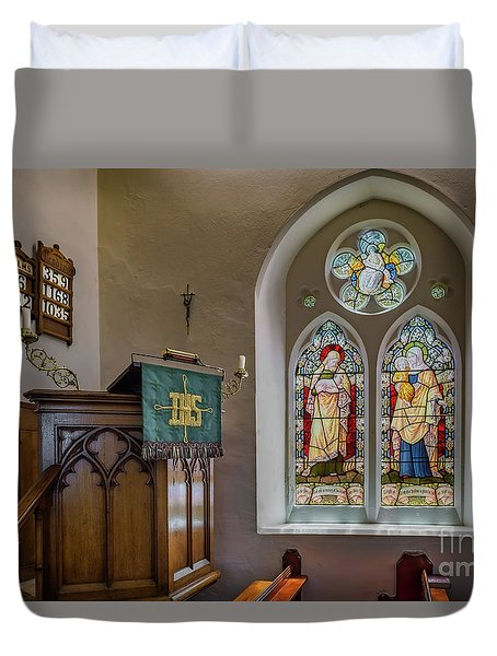 Duvet Cover featuring the photograph Stained Glass Uk by Adrian Evans