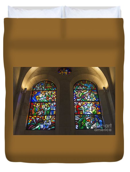 Stained Glass Windows Inside Manila Cathedral In Philippines Duvet Cover