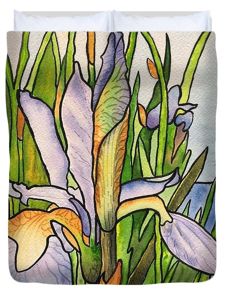 Stained Iris Duvet Cover