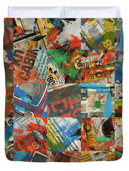 Stained Newspaper Pages Duvet Cover