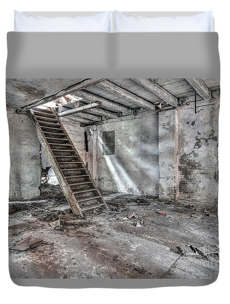 Duvet Cover featuring the photograph Stair In Old Abandoned  Building by Michal Boubin