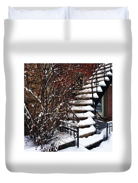 Staircase Covered By Snow Duvet Cover