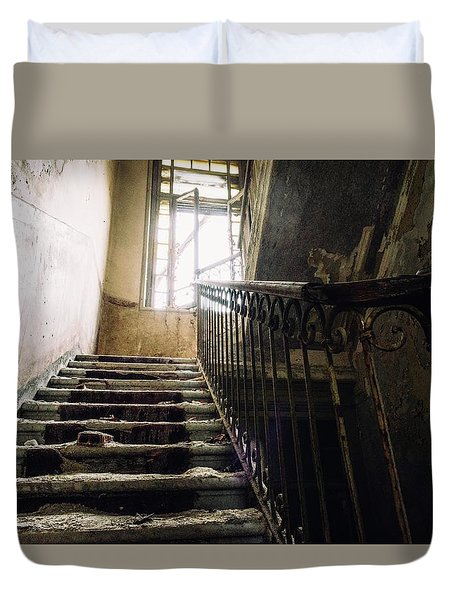 Stairs In Haunted House Duvet Cover