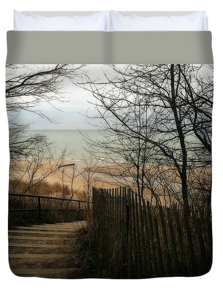 Duvet Cover featuring the photograph Stairs To The Beach In Winter by Michelle Calkins