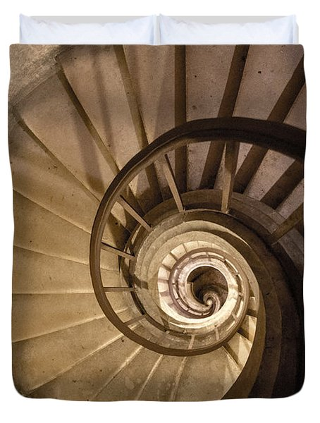 Duvet Cover featuring the photograph Stairs To The Paris Pantheon Crypts by Jean Haynes