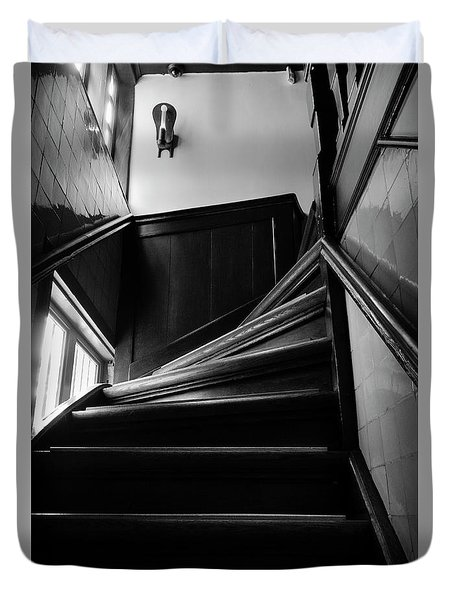 Stairway In Amsterdam Bw Duvet Cover by RicardMN Photography