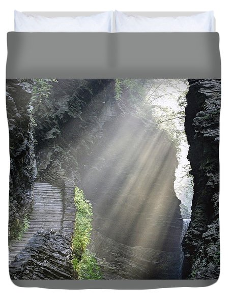 Stairway Into The Light Duvet Cover by Gene Walls