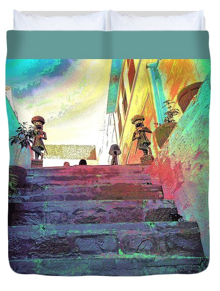 Stairway To Heaven Restaurant Blue City India Rajasthan 1a Duvet Cover