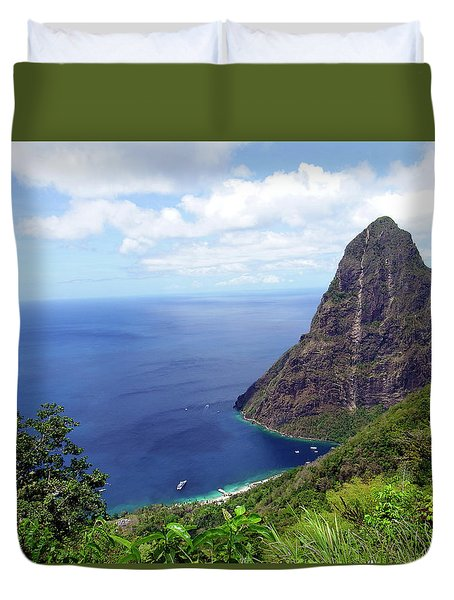 Duvet Cover featuring the photograph Stairway To Heaven View, Pitons, St. Lucia by Kurt Van Wagner