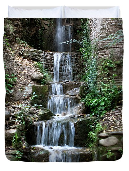Duvet Cover featuring the photograph Stairway Waterfall by Lorraine Devon Wilke
