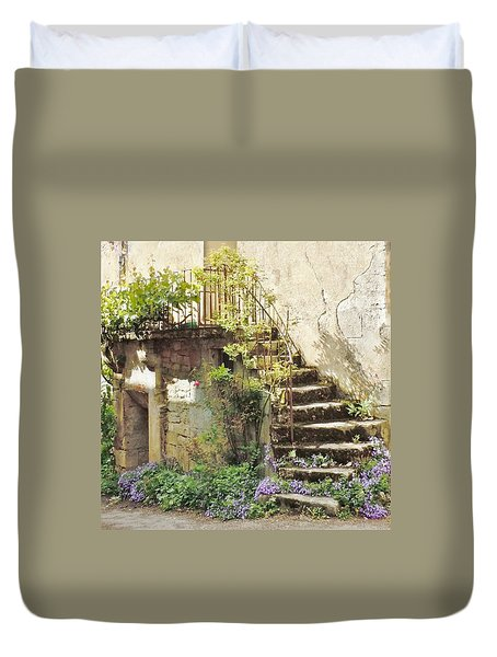 Stairway With Flowers Flavigny France Duvet Cover by Marilyn Dunlap