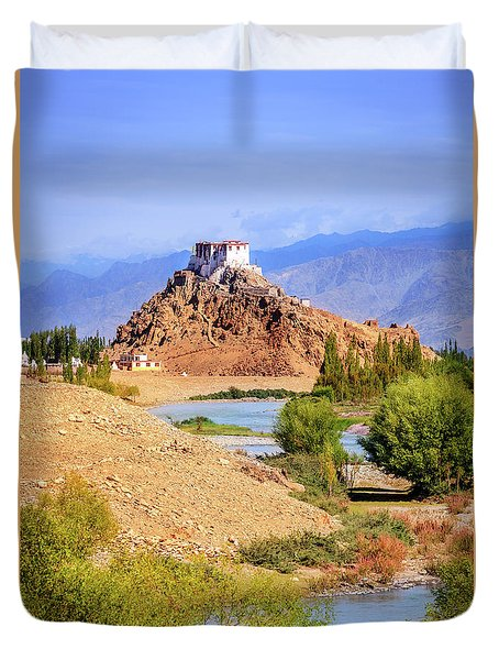 Duvet Cover featuring the photograph Stakna Monastery by Alexey Stiop